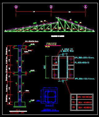 نقشه سازه ساده اتوکد جزئیات اجرایی سقف شیبدار با خرپای فلزی